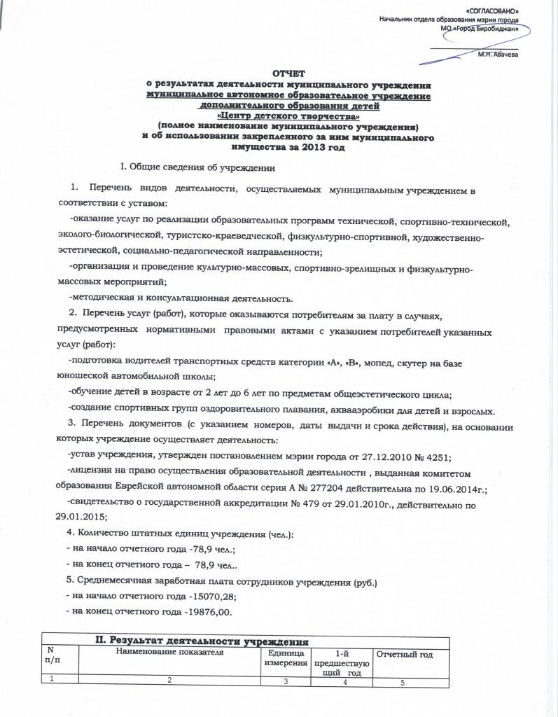 Отчет о результатах деятельности за 2013 год